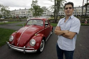 Chris Vallone with one of his VW Bugs