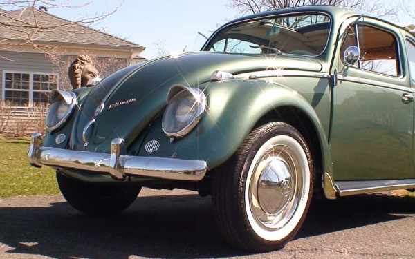 Classic VW BuGs 1958 Evergreen Metallic Beetle Ragtop SOLD